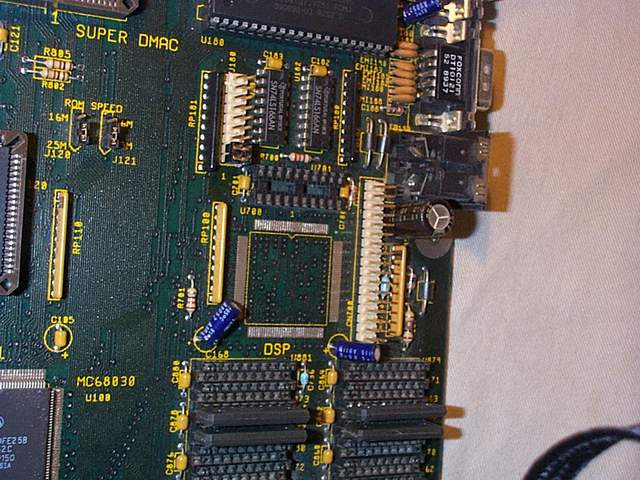 Picture showing the DSP socket and the ZIP RAM banks