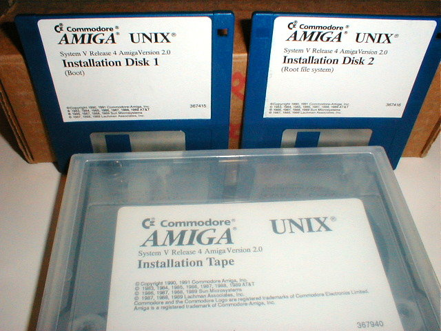 Commodore Amiga UNIX Disks and Tape