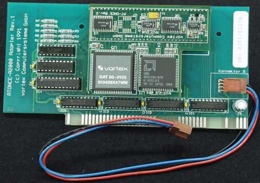 Picture of a Rev 2 card attached to the A2000 adaptor